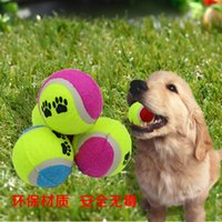Wholesale Natural Rubber Pet Tennis Balls in cm with Footprints Tennis Special Toy Dog Pet Bite Ball Multicolor Outdoor Activity Training Balls