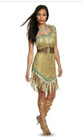 Wholesale Halloween Carnival Party Cosplay Costume Dress Lady Sex Dress Indian Costume Womens Pocahontas Adult Fancy Dress