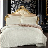 Wholesale 4pcs cotton silk jacquard bedding set satin bed linen bedclothes queen size including duvet cover bed sheet pillow cases
