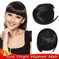 Wholesale Virgin Brazilian Human Natural bangs hair Clip in front bangs Headband clip in fringe Bangs hair extensions blunt bangs