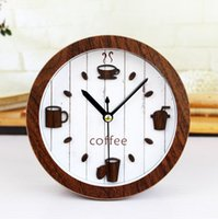 bell coffee - Retro idyllic leisure time D coffee cup pot small wooden Bell clock creative high quality desktop alarm clocks home decorations