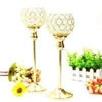 tea cup candles - Gold Crystal candle holder mental plated wedding tea light holder centerpiece decoartion candlestick candlebra cm cm set