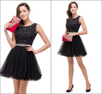 Wholesale Little Black Short Homecoming Dresses Real Image Crew Neck with Beads Appliques A Line Tull Girls Cocktail Gowns Custom CPS381