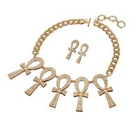 Wholesale Rhinestone Alloy Egyptian Ankh Necklace and Stud Earrings Chunky Chain Jewelry set Factory