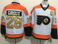 Wholesale 2016 Mens Philadelphia Flyers Claude Giroux White rd th Anniversary Patch Ice Hockey Jerseys Free Drop Shipping holypote
