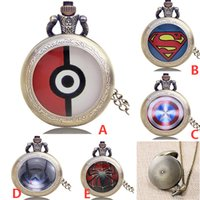 Wholesale Retro Cartoon Poke Elf Ball Superman Spideman The Captain Shield Pocket Watches Unisex Women Men Pendant Necklace Watches XMAS Gifts WX N01