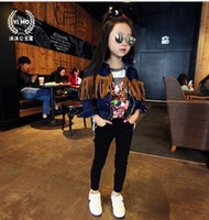 Wholesale The new Han edition children s clothes Tassel locomotive cowboy coat coat of the girls