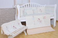 Wholesale 100 cotton White Baby bedding set Embroidery lovely pony Crib bedding set item quilt pillow bumper bed sheet Cot bedding set