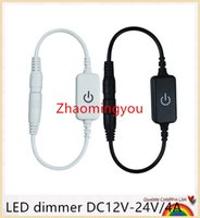Wholesale HONG LED dimmer DC12V V A Black or White for Single color Led strip touch switch on off dimmer