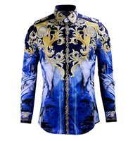 Wholesale Hot selling Men s fashion designer haute royal style floral print autumn Long Sleeve slim fit Casual shirts muscle fit stylish luxury