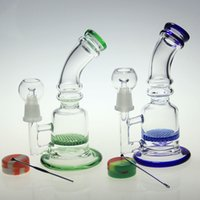 Glass Free Type glass bong 2016new glass bong colored glass water pipe honeycomb perc glass concentrated oil rigs with wax oil container and dabber nail