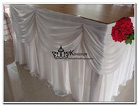 Wholesale Ice Silk Table Skirt Used For Wedding Decoration White Color