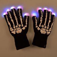 Wholesale 20pcs Novelty LED Gloves Flashing Multicolor Changing Led Optical Fiber Magic Gloves Light Gloves Finger Light Gloves
