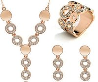 Wholesale Women Wedding Jewelry Set High Quality K Gold Plated Austrian Crystal Necklace Ring Earrings Set