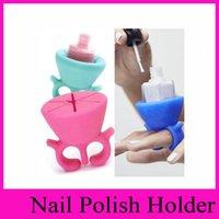 Wholesale 13 colors Nail Polish Bottle Holder Flexible Multifunction Wearable Art Tips Polish Varnish Silicone Stand Holder Bottle Display