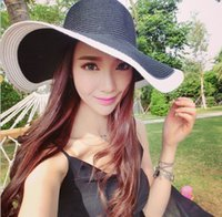 american resorts - 2016 European and American fashion Hepburn black and white mosaic fashion straw hat Dayan Mao beach vacation in spring and summer child hat