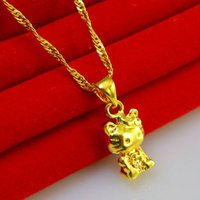 american financial - Do not fade Gold Pendant Lucky Cat Pendant small financial word imitation gold necklace chain gift to send to friends