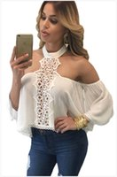 Wholesale Strapless Loose Tops - Summer Plus Size Women Sexy Blouses Shirts Crop Tops 2016 Halter Strapless Backless Stitching Long Sleeve Loose Casual Tops Sexy Blouses