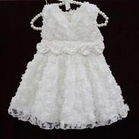 Wholesale 0 Y baby jurkjes baby birthday dress infant girls dress white rose flower infant girl christening dresses party Princess