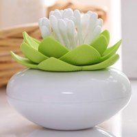 Wholesale Toothpick Holders Lotus Flower Vase Cotton Swab Case Bud House Storage Box Bins Plastic Home