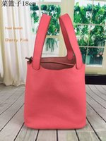 Wholesale Luxury leather Food Basket Housewife latest Ideal shopping bags cowhide durable bags suede inside x22cm factory price