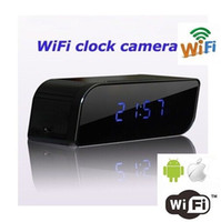 Wholesale ORIGINAL P HD wifi clock spy camera night vision motion detection for iphone