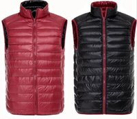 Wholesale Plus Size Men s Ultra Light Down Double Sided Zipper Puff Gilet Vests Jackets Waistcoat Winter Jackets Colors