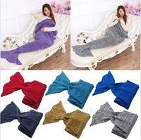 Wholesale Adult Mermaid Tail Blankets Handmade Crocheted Sofa Blankets Super Soft Air Condition Blankets Mermaid Tail Sleeping Bags X95cm B729
