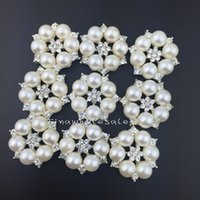 Wholesale mm flower shape Flatback Rhinestone embellishment Button For Hair Flower Wedding Invitation Pearl Button
