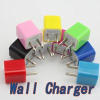 Wholesale For lphone s Wall Charger Travel Adapter V A Home Plug Candy Colorful US Plug USB Power Wall Home Travel Charger Adapter