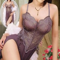 Wholesale Sexy Lingerie Female Underwear Long Lace Gown Nightwear Chemise G String Baby Doll QJ