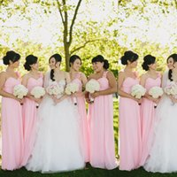 baby pink bridesmaid dresses - Cute Baby Pink One Shoulder Bridesmaid Dresses Chiffon Wedding Guest Dresses Themed Wedding Bridal Maid of Honor Gowns