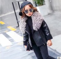 american leather coat - 2016 girls leather coat lapel zip cashmere girl children small children warm thick coat