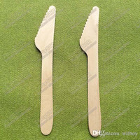 Wholesale 18198 quot inches cm wooden knife knives Disposable spoon spork fork Teaspoon Coffee scoops Icecream Cutlery Flatware Eco Friendly Cake