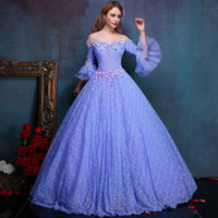 Wholesale Vintage Violets Full Lace Prom Dresses Ball Gowns Off Shoulder Princess Sleeves D Floral Appliques Floor Length Quinceanera Dresse