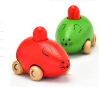 baby car toys activity - Activity Series Mouse Lovely Wooden Squeak Mouse Toy Car for Baby Kids color Random