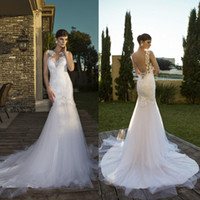 best hens - Lace Mermaid Vintage Backless Tulle Wedding Dresses The Best Selling Court Train Appliques High Quality Dresses Nurit Hen a1898
