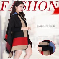 Wholesale Fashion warm ladies Shawls dual use scarf women autumn and winter cloaks thicker warm cloak coat A0344