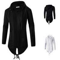 Wholesale Solid Color Hooded Cardigans - 2016 Autumn&Winter Fashion New Black White Cloak Hooded Sweatshirt Men Streetwear Hip Hop Long Hoodies Clothing Mens Outerwear Cardigan Coo