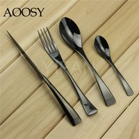 Wholesale High grade Titanium black Flatware Stainless Steel Mirror Polishing Dinnerware Set include Knife Spoon Fork
