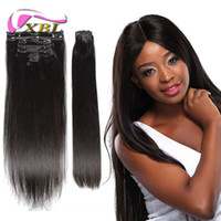 Wholesale 7Pcs One Set Clip in Hair Human Extensions Natural Color g Pc Straight Human Hair DHL Shipping XBLHair