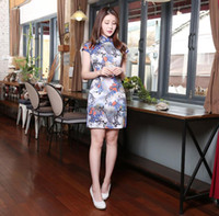 arrival features - New Arrival Blue Cheongsam Cap Sleeve Satin Ribbon Edge Cheap Chinese Dresses Sheath Above Knee Printed Chinese Featured Cheongsam