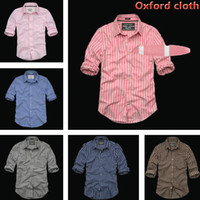 oxford shirts - 2016 New Arrived Camisetas Masculina Shirts Long Sleeve Piaid and Striped Cotton Oxford Shirts For Men