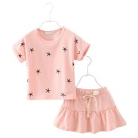 baby star outfit - Cute Girls Outfit Set Pieces Stars Printed Tops Skirt Baby Girls Skirts Suit Children Kids Clothing Pink Purple for T T