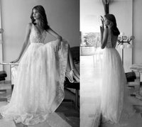 beach list - Bohemian Wedding Dresses Lace Vintage Bridal Gowns Sexy V Neck Zip Back Open Floor Length Lace Long Wedding Gowns New Listing