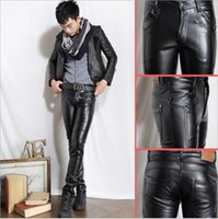 Wholesale Hot Sale Mens Fashion Black Leather Pants Faux Leather Pu Material Black Color Motorcycle Skinny Casual Pu Trouser For Men