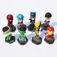 Juguetes avengers España-8Pcs / Set Marvel Los Vengadores Superhéroes Capitán American Hulk X-hombres Spiderman Mini PVC Figura Juguetes Muñecas