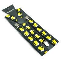 Wholesale Men Women Unisex Clip on Suspenders Elastic Slim Suspender inch Wide Yellow Beer Glass Cup Green Leaf Black Suspenders Gallus