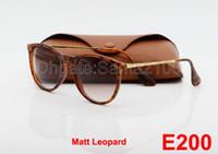 al por mayor lentes de sol hombres de las mujeres-1pcs de calidad superior Nuevas gafas de sol de moda para la mujer del hombre Erika Gafas marca con los vidrios de Sun Matt leopardo del gradiente lentes de la caja de 52 mm Casos