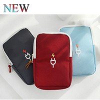Wholesale Earphone Bag Mini Zipper Hard Headphone Case Polyester Protective Camera Bag Usb Cable Organizer Portable Earbuds Pouch Box